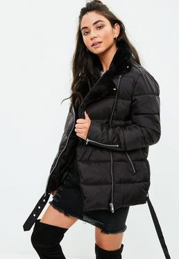 Black Puffer Aviator Jacket