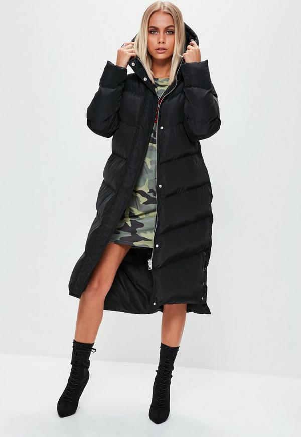 Black Longline Puffer Jacket Missguided