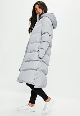 Grey Longline Puffer Jacket