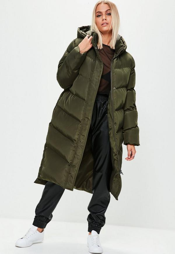 Khaki Longline Puffer Jacket Missguided