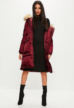 Burgundy Oversized Faux Fur Hood Puffer Jacket