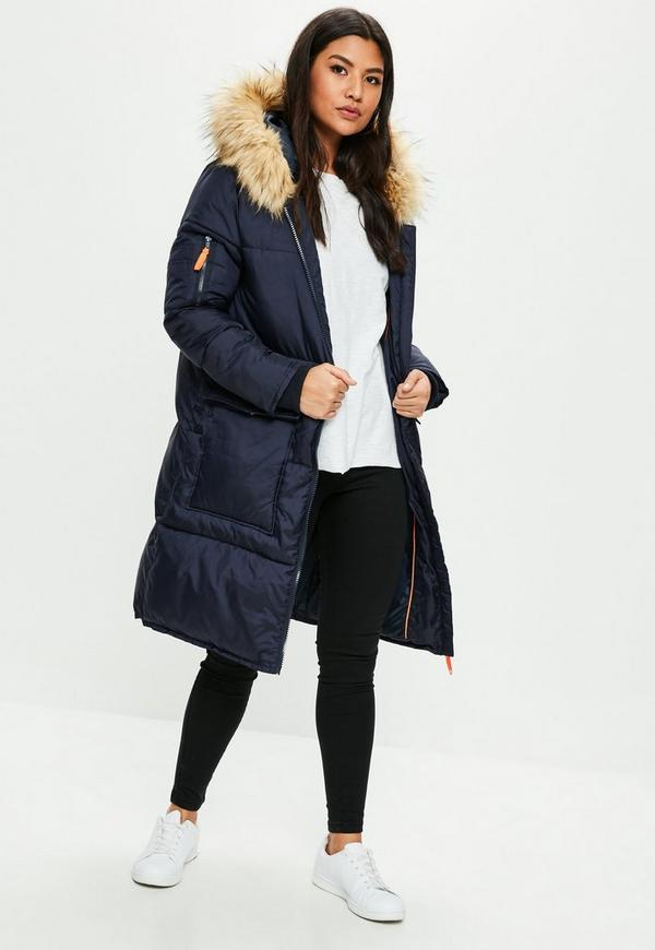 Navy Oversized Faux Fur Hooded Puffer Jacket Missguided