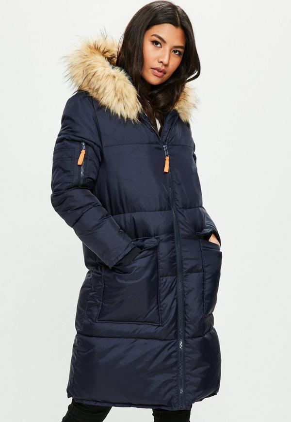 Navy Oversized Faux Fur Hooded Puffer Jacket | Missguided Ireland