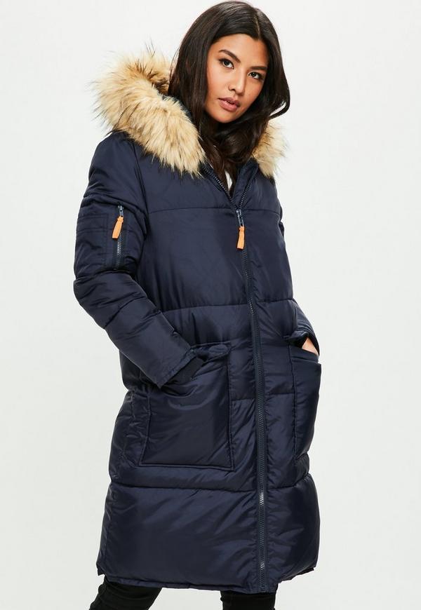 Navy parka with fur hood