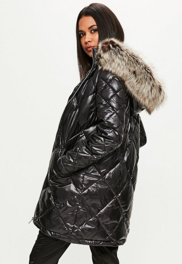 Black Diamond Quilted Puffer Jacket | Missguided : quilted puffer coat - Adamdwight.com