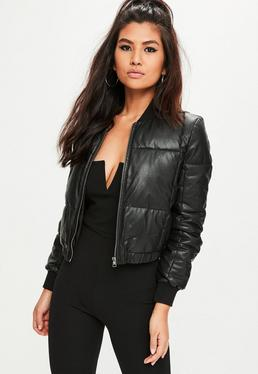 Black Faux Leather Padded Jacket