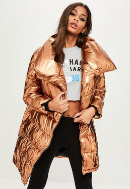 Bronze Metallic Puffer Jacket