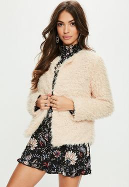 Cream Collarless Faux Fur Coat