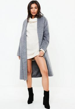 Gray Shawl Collar Midi Coat