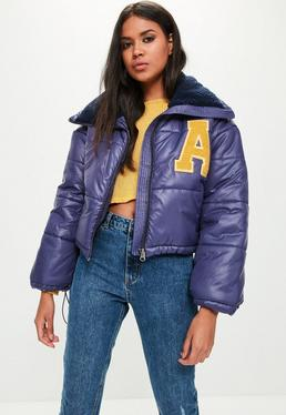 Navy Super Cropped Padded Jacket