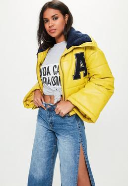 Yellow Super Cropped Padded Jacket
