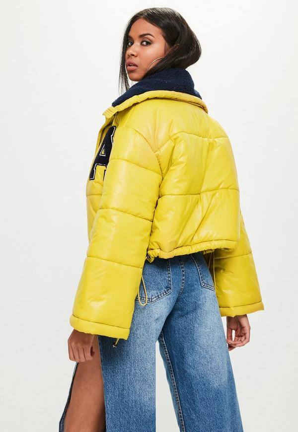 Yellow Super Cropped Puffer Jacket Missguided