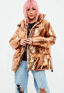 Złota metaliczna kurtka Puffer