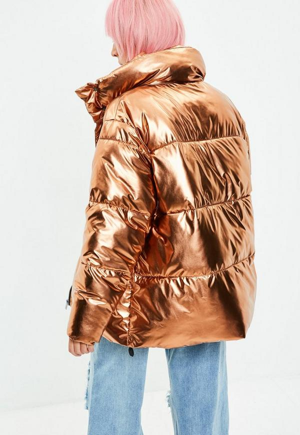 Gold Metallic Puffer Jacket Missguided