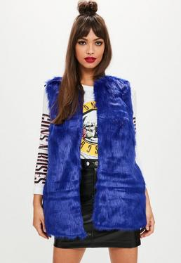 Blue Ultimate Faux Fur Vest