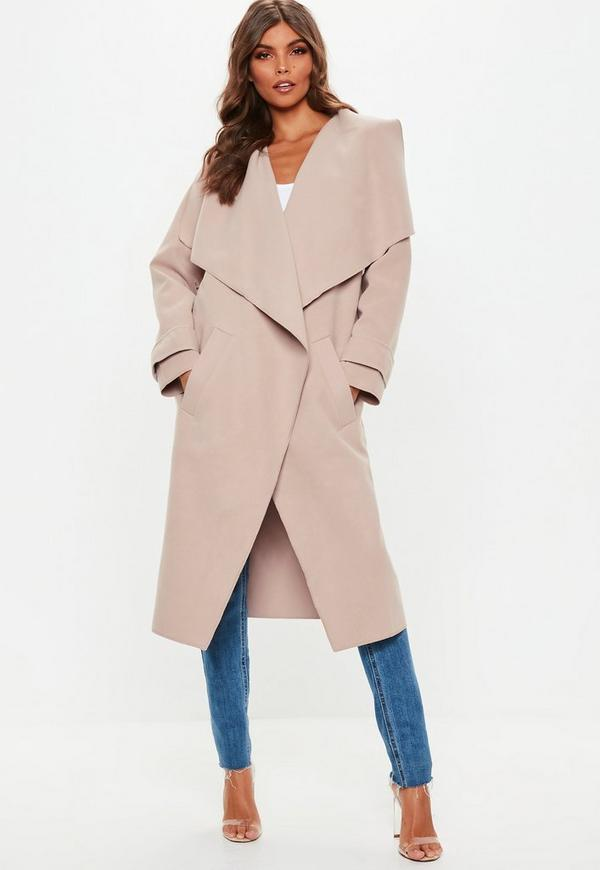 38dc3c7ec51c Shoptagr | Nude Oversized Waterfall Duster Jacket by Missguided