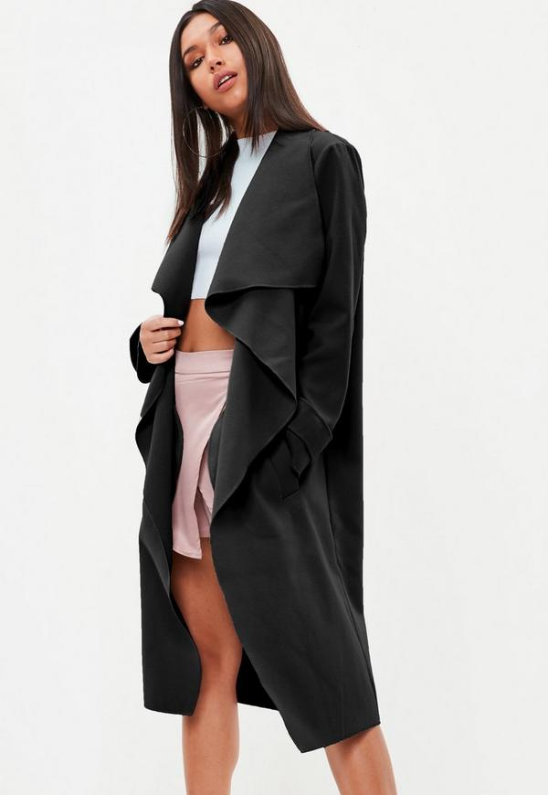 oversize mantel mit wasserfall ausschnitt in schwarz. Black Bedroom Furniture Sets. Home Design Ideas