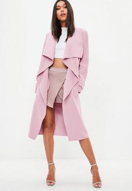 Chaqueta larga oversize en rosa