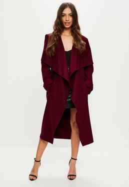 Burgundy Oversized Waterfall Duster Jacket