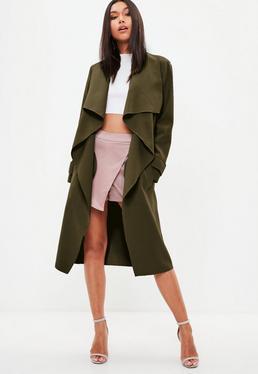 Kaskadowy długi płaszcz w kolorze khaki