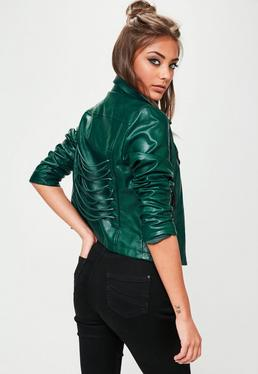 Green Biker Lace Up Detail Jacket