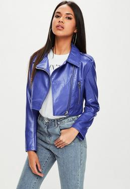 Blue cropped faux snake biker jacket