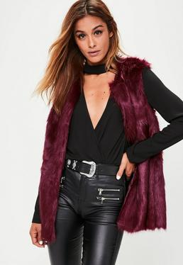 Burgundy Ultimate Faux Fur Gilet