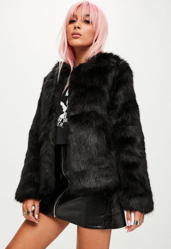 Black Collarless Faux Fur Jacket Missguided