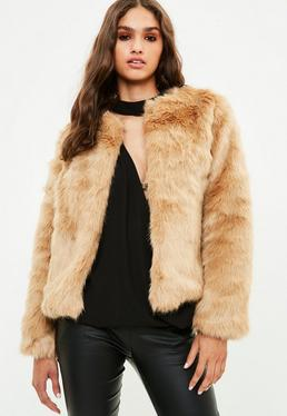 Brown Collarless Faux Fur Coat