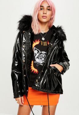 Black Vinyl Parka Jacket