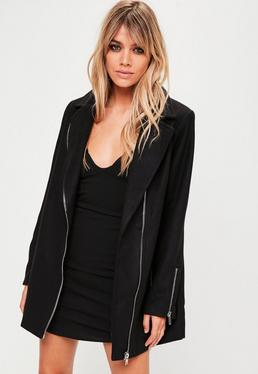 Black Faux Wool Biker Jacket
