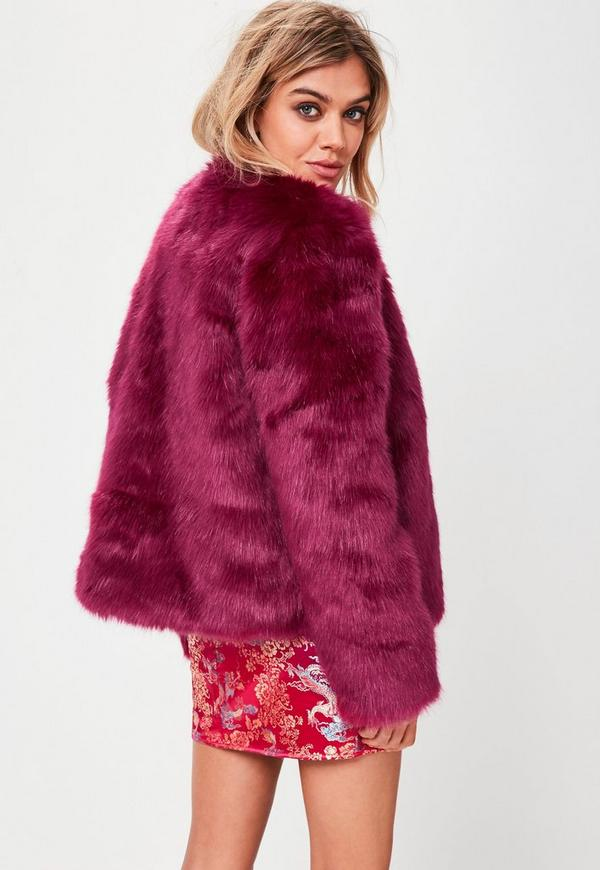 Pink Collarless Faux Fur Coat | Missguided