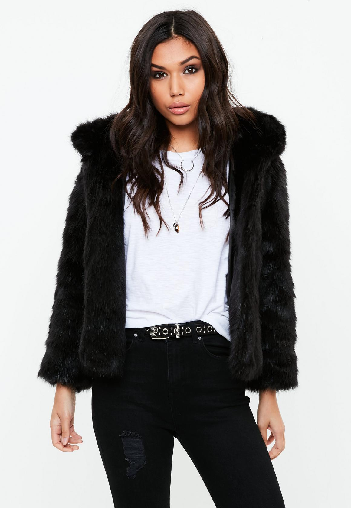 Black Faux Fur Hooded Coat | Missguided