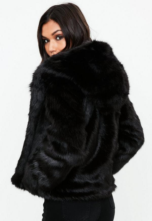 Black Faux Fur Hooded Coat   Missguided