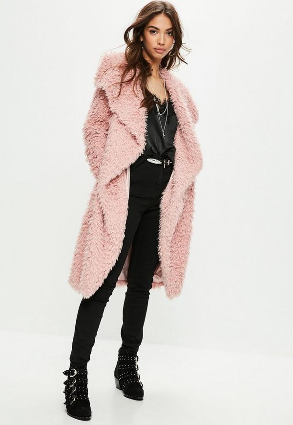 pink faux fur coat missguided. Black Bedroom Furniture Sets. Home Design Ideas
