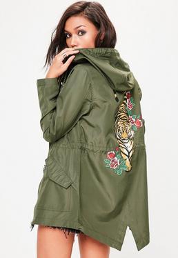 Khaki Kapuzen-Regenjacke mit Tiger-Motiv