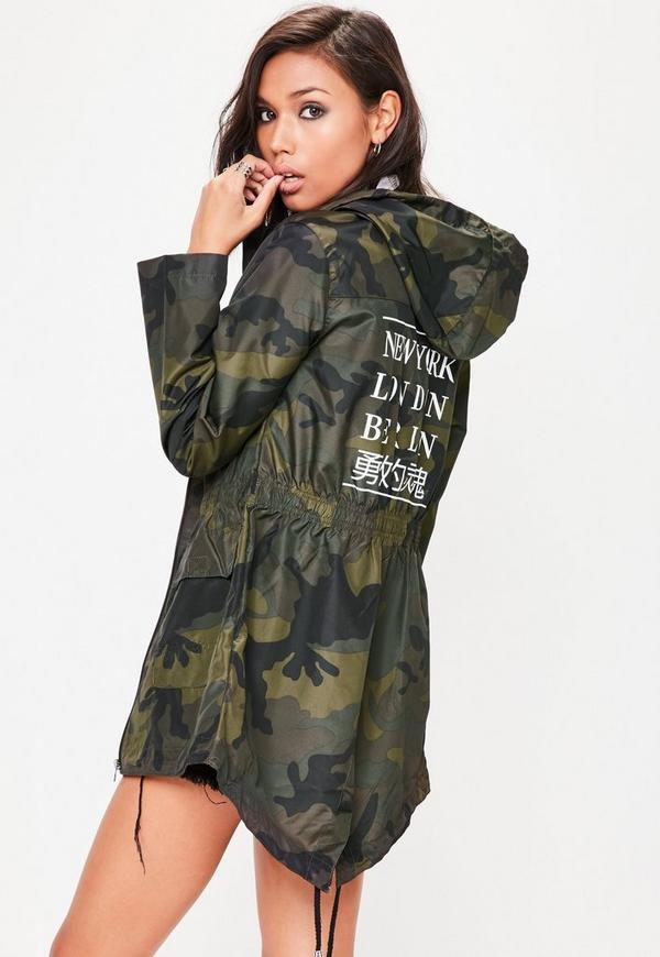 Khaki City Slogan Camo Rain Mac Jacket Missguided