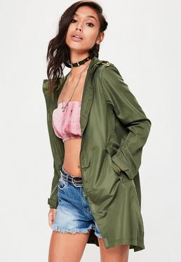 Cienki płaszcz przeciwdeszczowy w kolorze khaki