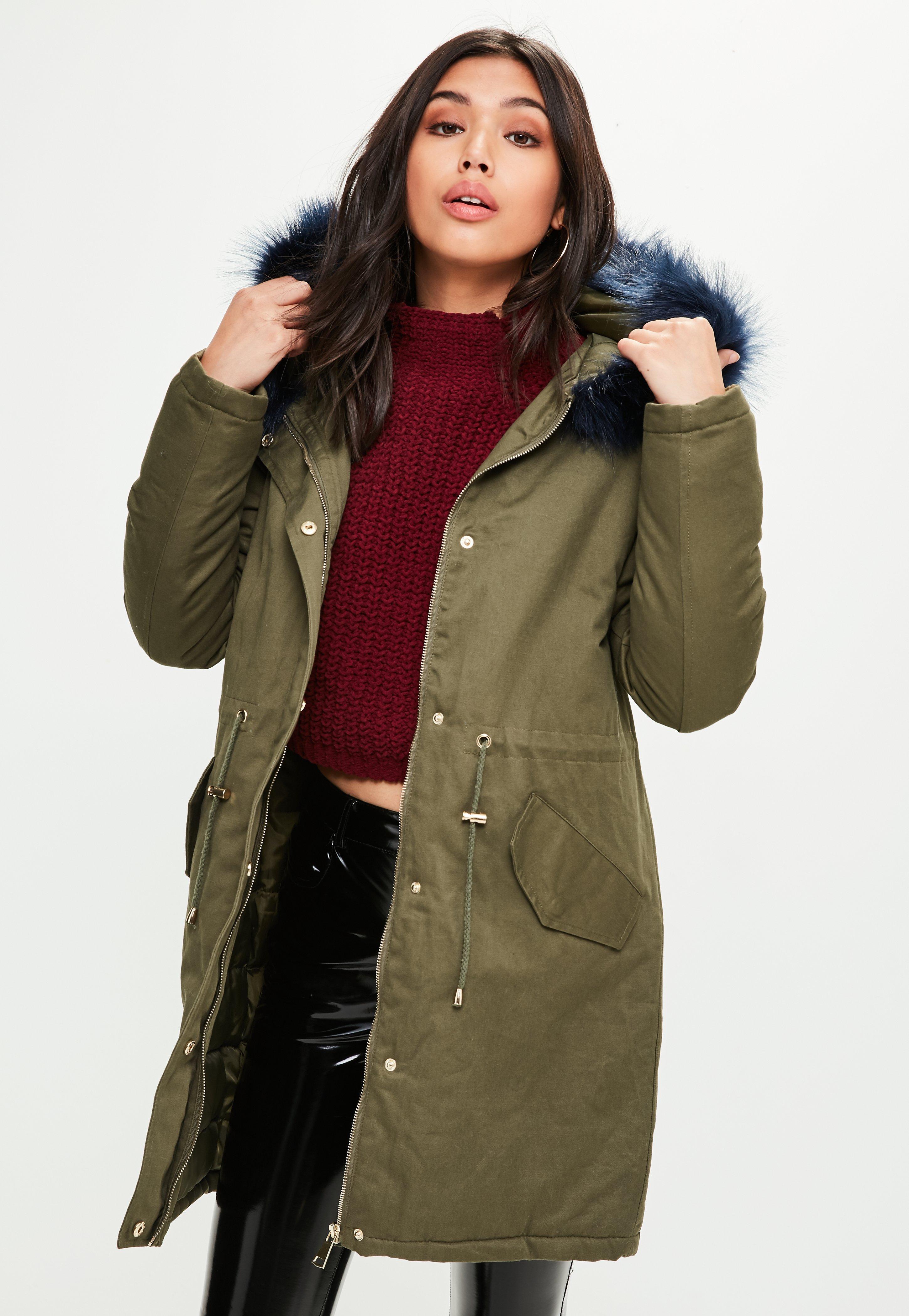 Khaki Contrasting Faux Fur Trim Parka   Missguided