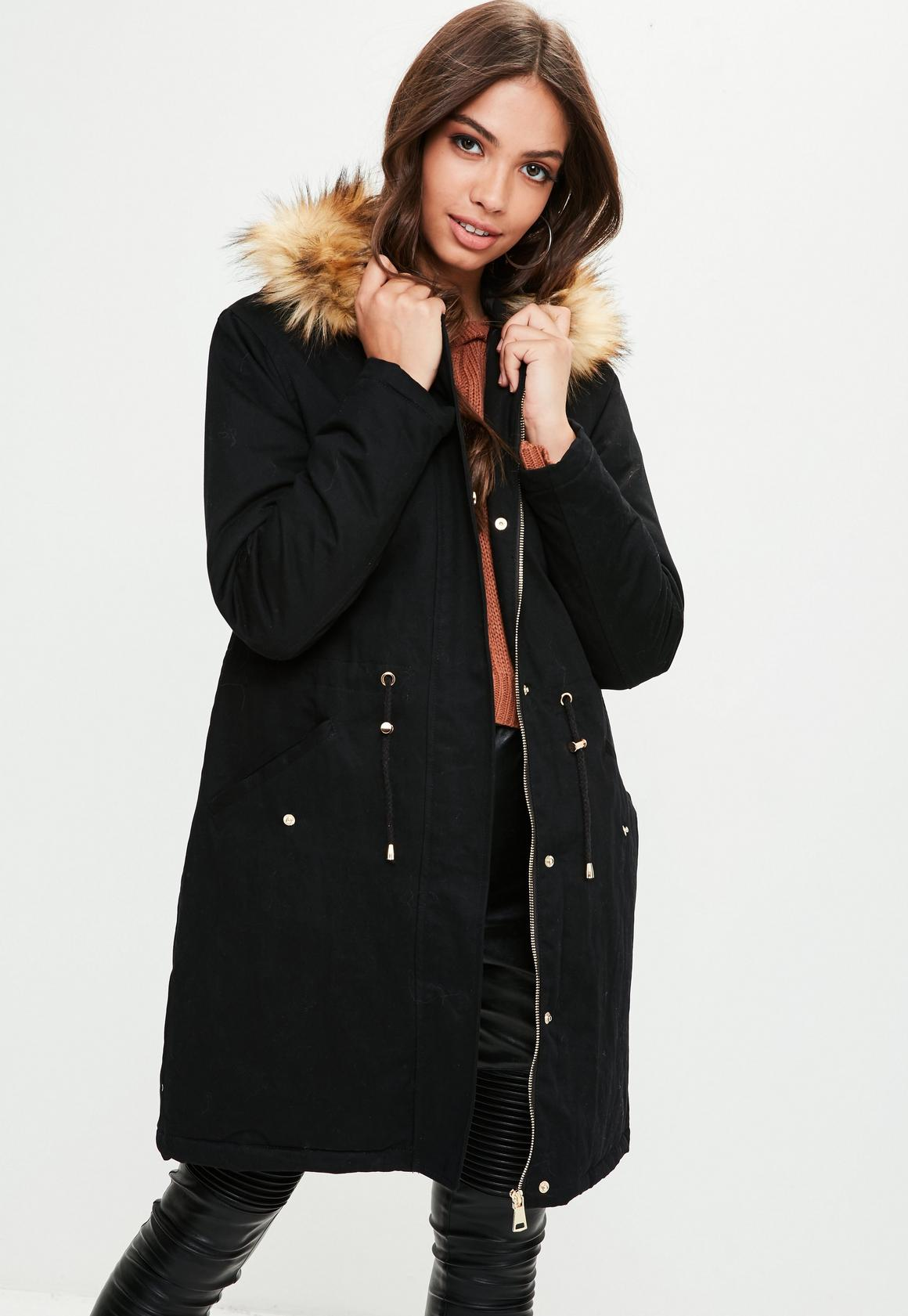 Black Contrasting Faux Fur Trim Parka | Missguided