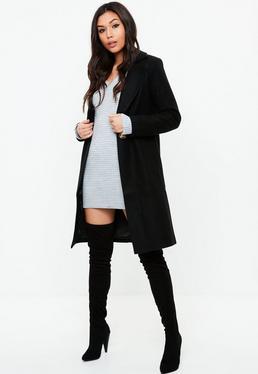 Black Button Long Wool Coat