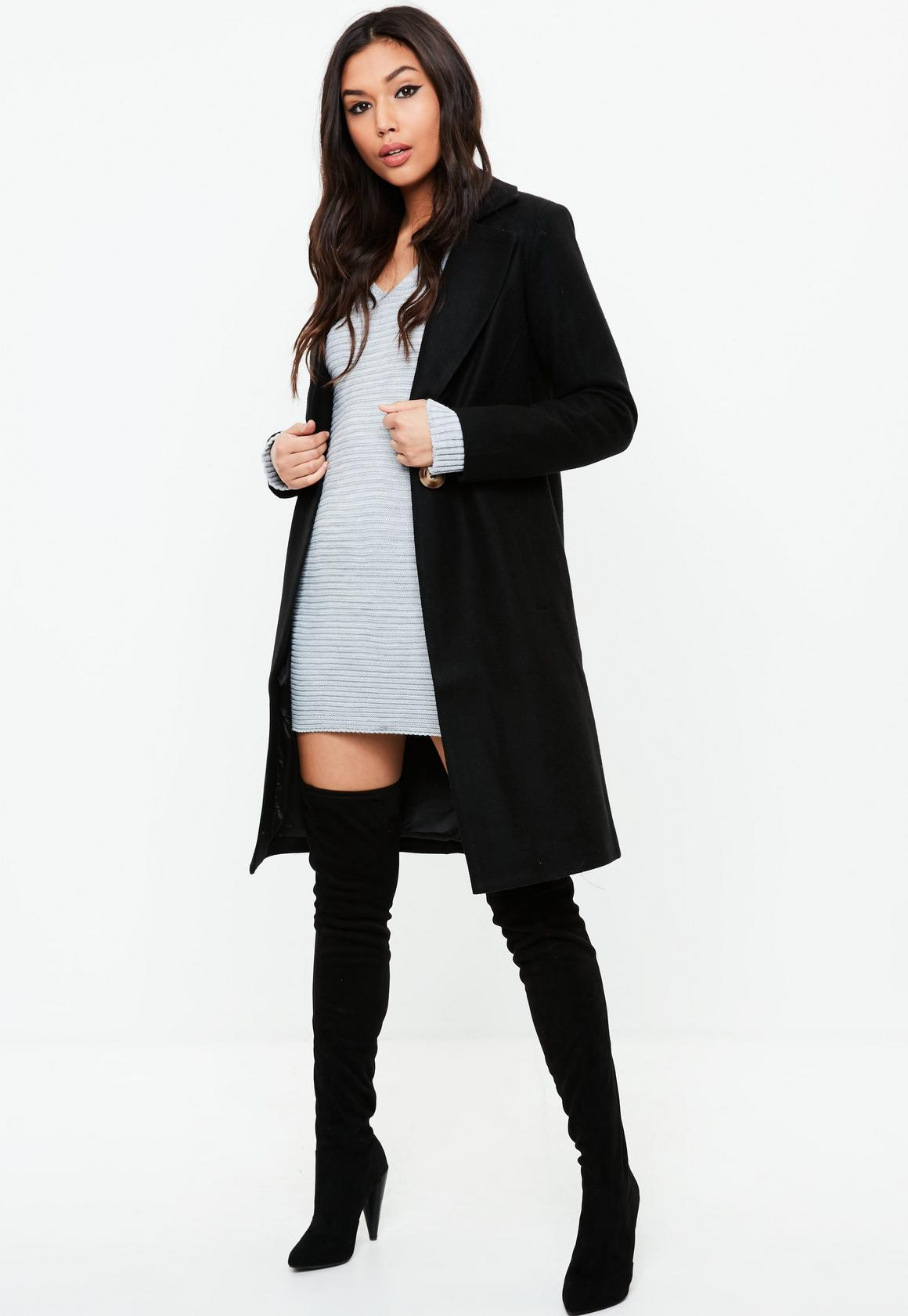 Black Button Long Wool Coat | Missguided Ireland