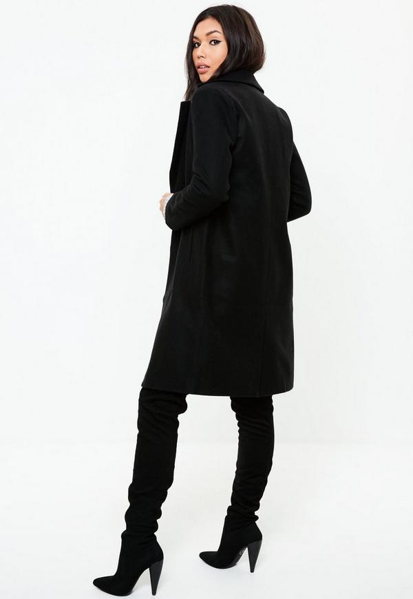 Black Button Long Wool Coat | Missguided
