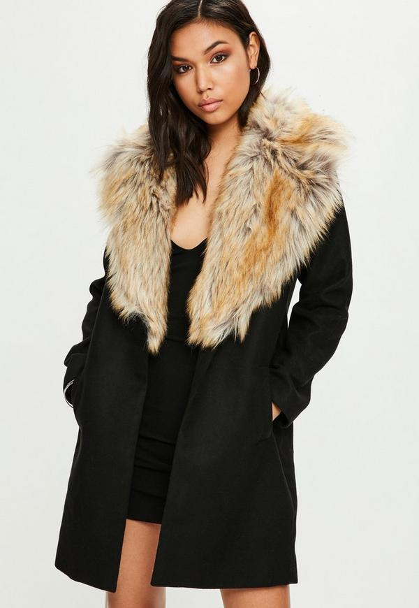 Black Faux Fur Short Wool Coat Missguided