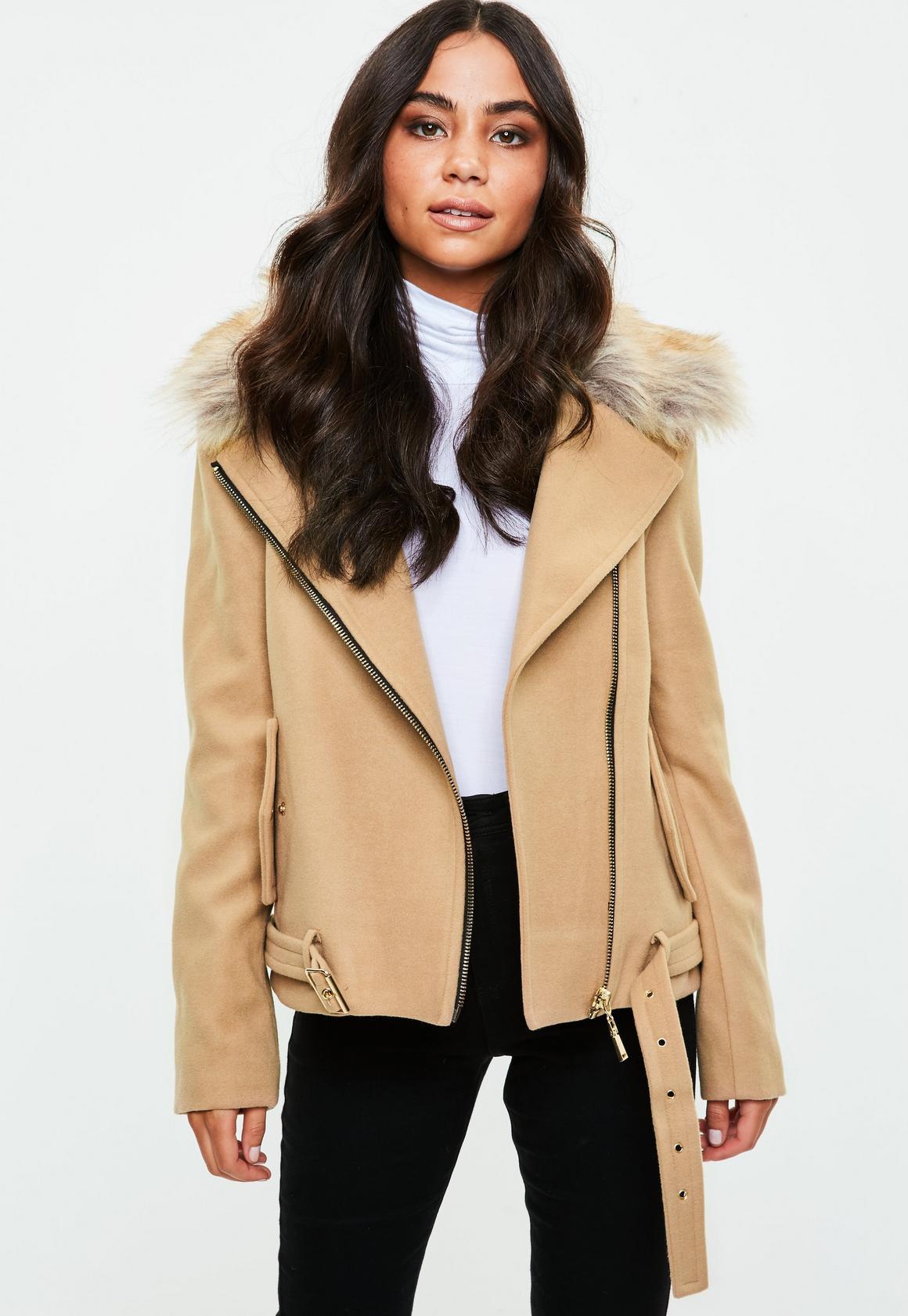 Camel Wool Fur Collar Biker Jacket | Missguided Australia
