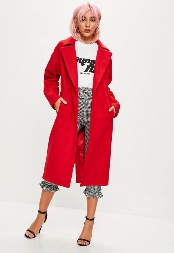 Red Slogan Back Long Faux Wool Coat | Missguided Ireland