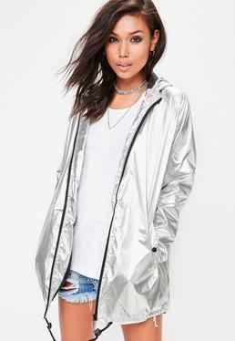 Silver Metallic Rain Mac Jacket