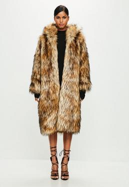 Peace + Love Brown Faux Fur Maxi Coat