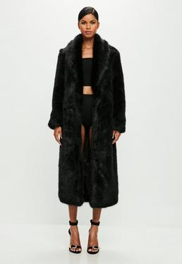 Peace + Love Black Faux Fur Maxi Coat