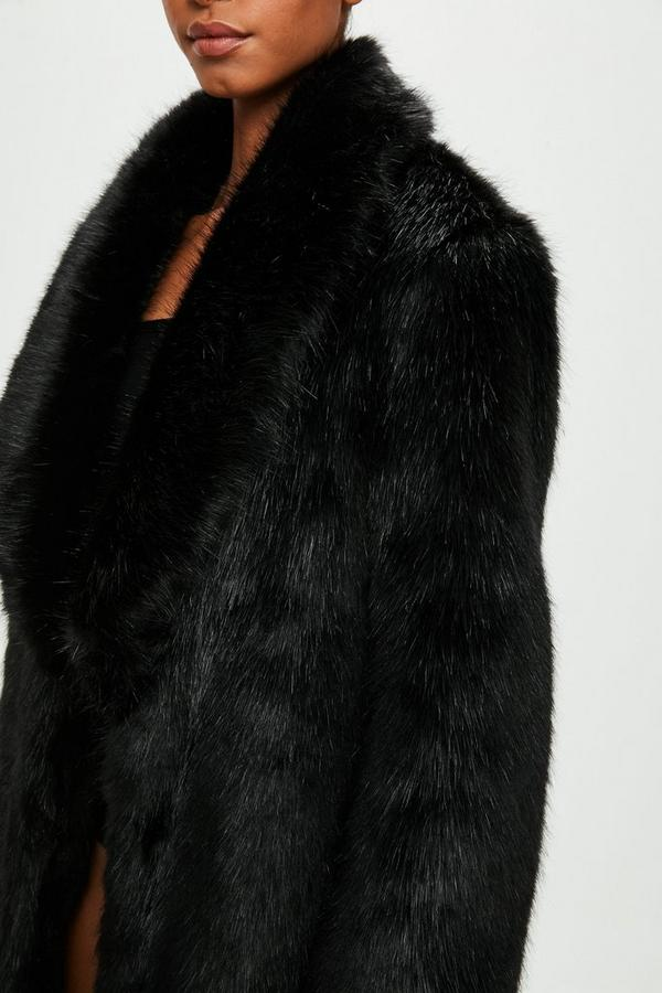 Peace Love Black Faux Fur Maxi Coat Missguided